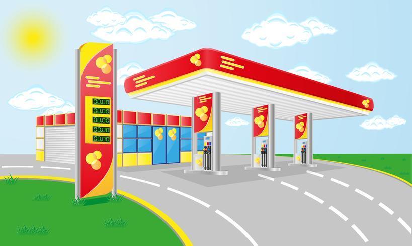station d'essence de voiture vecteur