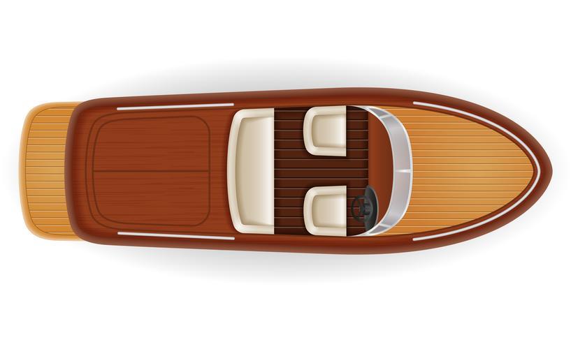 bateau à moteur vintage vieux rétro faite d'illustration vectorielle en bois vecteur