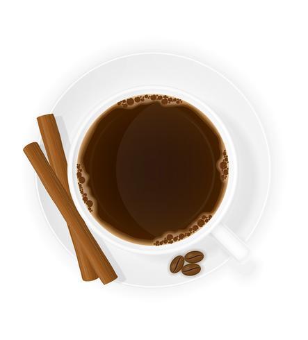 tasse de café avec des bâtons de cannelle illustration vectorielle vue de dessus vecteur