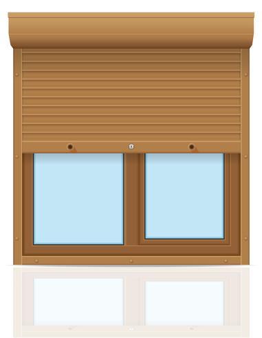 Fenêtre en plastique marron avec volets roulants illustration vectorielle vecteur