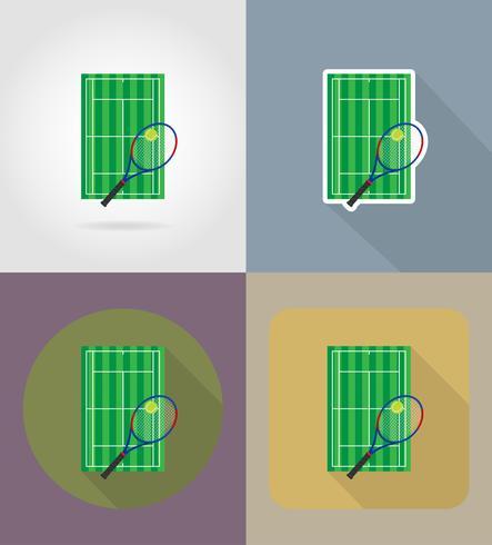court de tennis icônes plats vector illustration