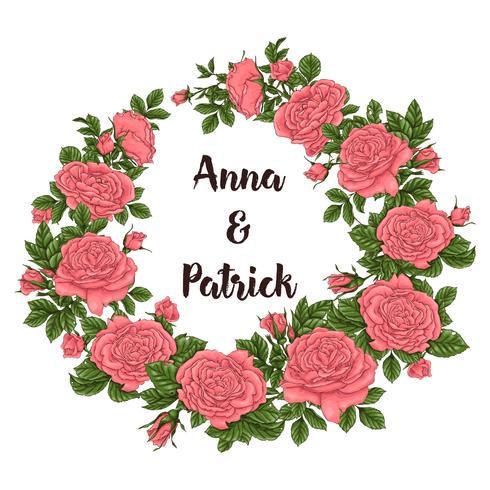 Carte postale roses de corail. Main, dessin d'illustration vectorielle vecteur