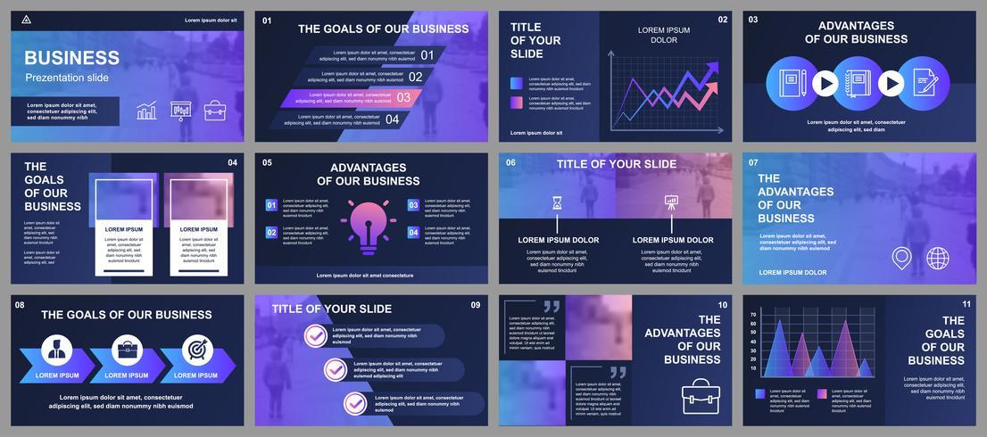 Modèles de diapositives de présentation d'entreprise à partir d'éléments infographiques. Peut être utilisé comme modèle de présentation, dépliant et dépliant, brochure, rapport d'entreprise, marketing, publicité, rapport annuel, bannière. vecteur