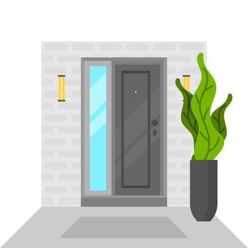Maison à porte plate avec plante verte vecteur
