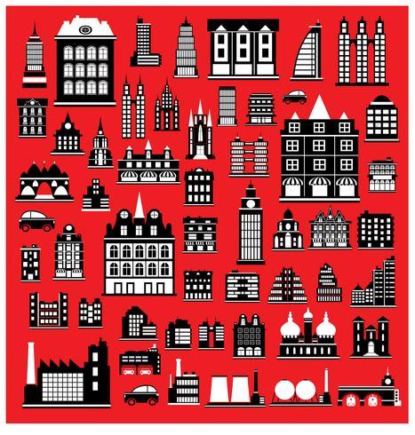 Maisons sur le rouge vecteur