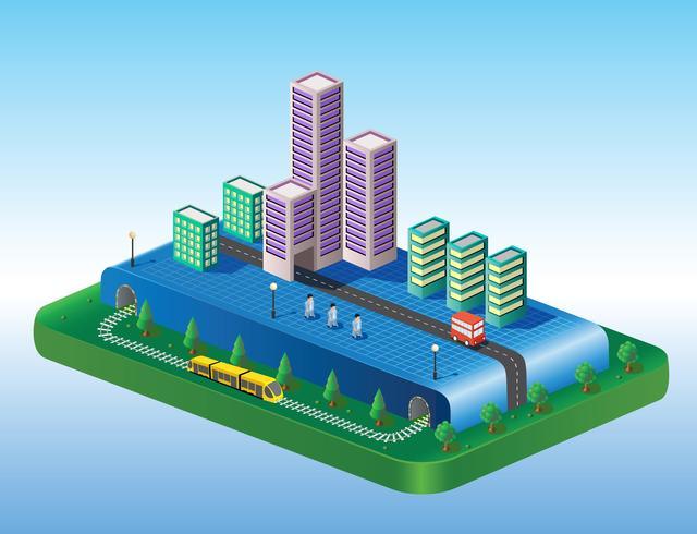 Vue isométrique de la ville vecteur