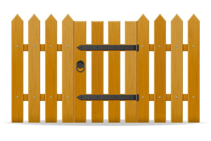clôture en bois avec illustration vectorielle porte de guichet vecteur
