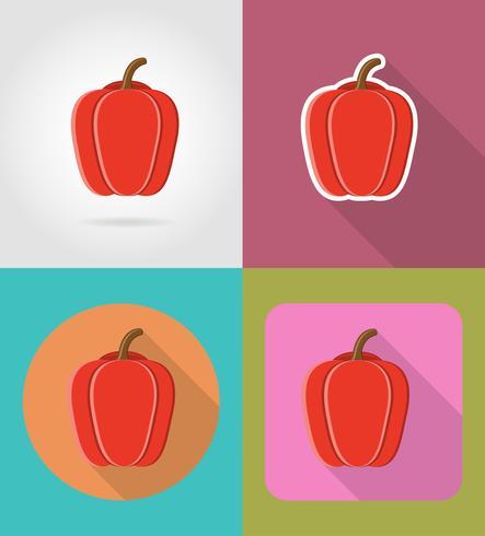 poivre légumes icônes plates avec l'illustration vectorielle ombre vecteur
