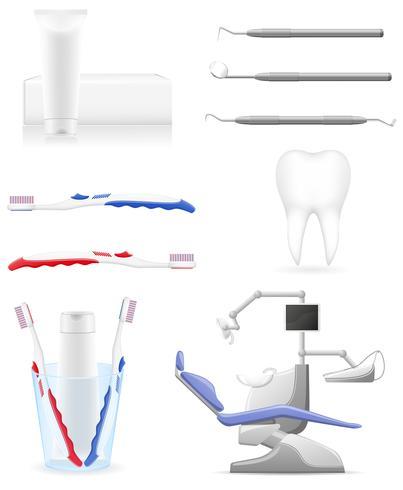définir des icônes dentaires vector illustration