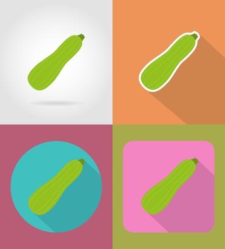 icônes plat de légumes courgettes avec l'illustration vectorielle ombre vecteur