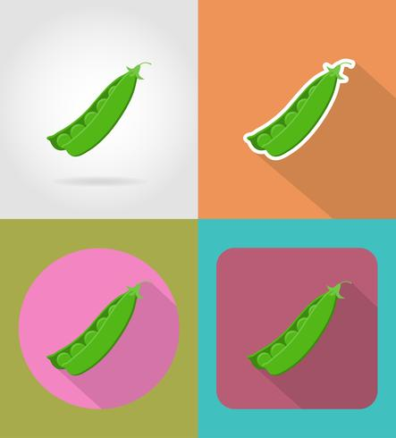 pois plats légumes icônes avec l'illustration vectorielle ombre vecteur