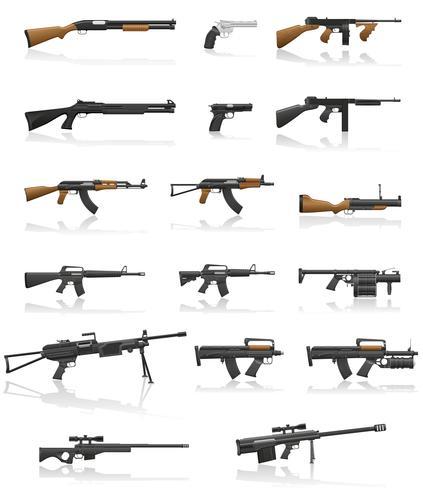 armes et armes à feu set collection icônes vector illustration