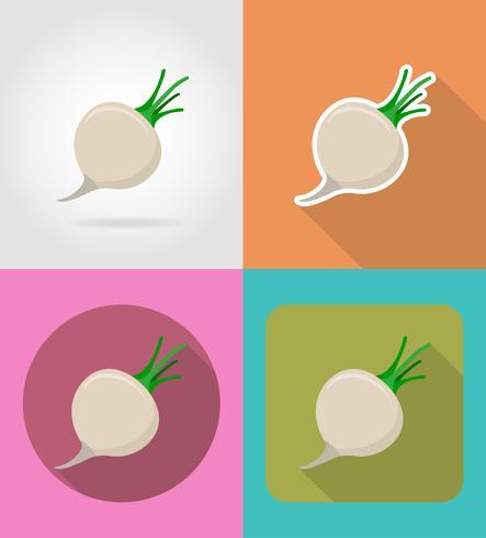 Navires icônes plats de légumes avec l'illustration vectorielle ombre vecteur