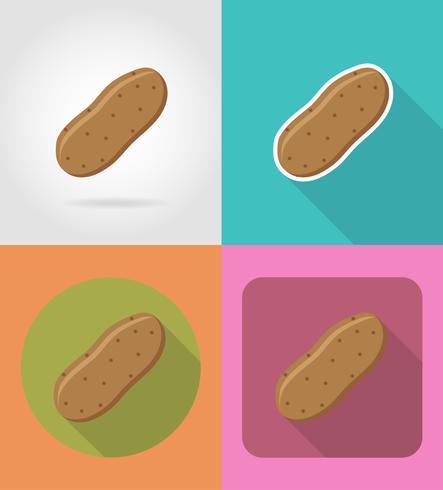 pommes de terre légume plats icônes avec l'illustration vectorielle ombre vecteur