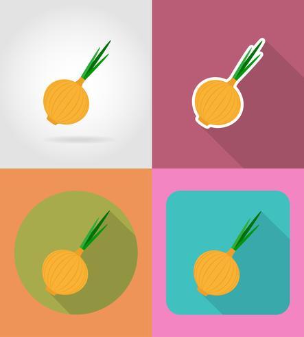 légume plat oignon avec l'illustration vectorielle ombre vecteur