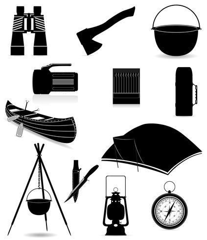 définir des éléments d'icônes pour l'illustration vectorielle de loisirs en plein air silhouette noire vecteur