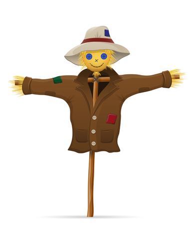 épouvantail paille dans une illustration vectorielle de manteau et chapeau vecteur