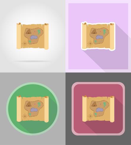 carte au trésor pirate icônes plates vector illustration