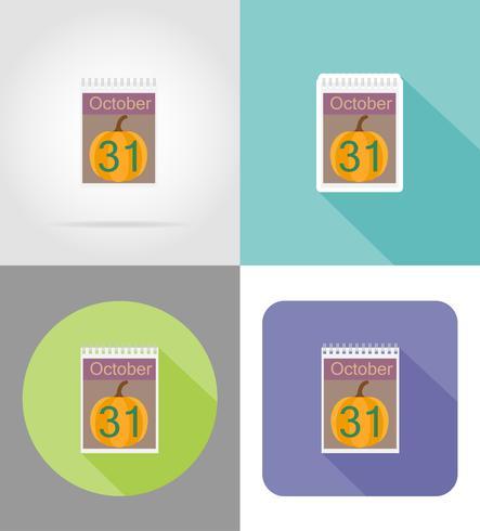 calendrier avec la date du 31 octobre halloween icônes plates illustration vectorielle vecteur