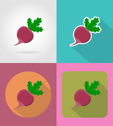 radis icônes plat de légumes avec l'illustration vectorielle ombre vecteur