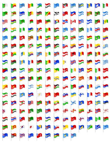 définir des icônes drapeaux des pays du monde vector illustration