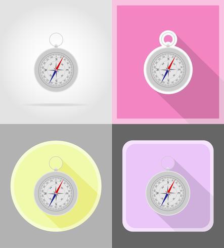 boussole icônes plats vector illustration