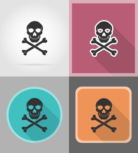 crâne de pirate et icônes croisées icônes plates vector illustration