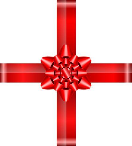 arc rouge avec illustration vectorielle de rubans vecteur