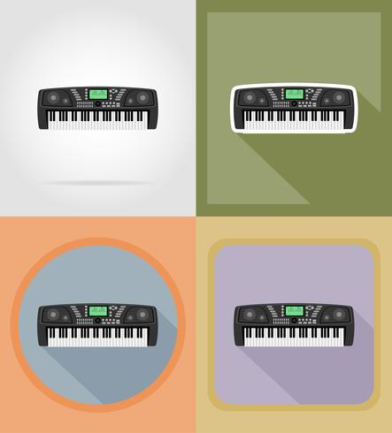 synthétiseur icônes plates vector illustration
