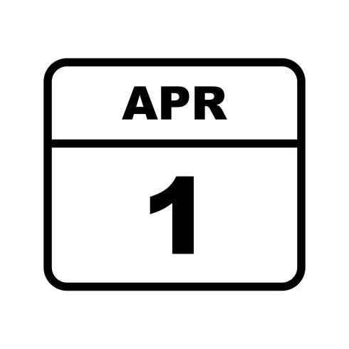1er avril Date sur un calendrier d'une journée vecteur