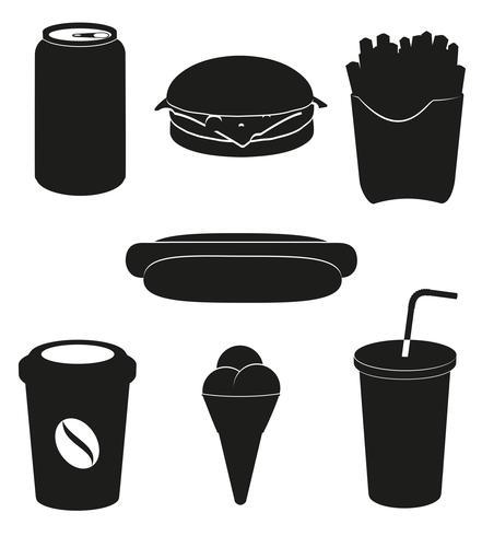 définir des icônes d'illustration vectorielle de Fast-Food silhouette noire vecteur
