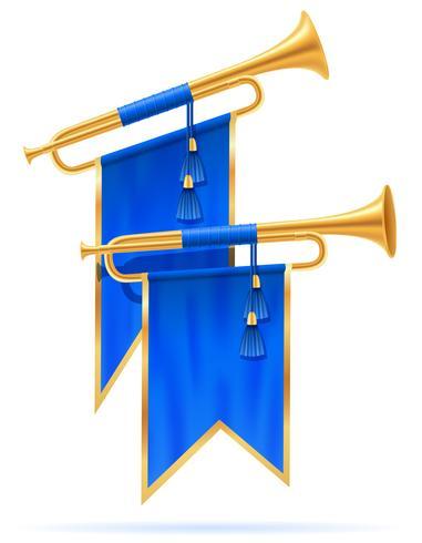 illustration vectorielle de roi trompette corne royale doré vecteur