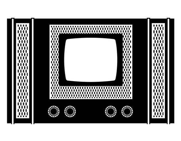 tv vieux rétro icône vintage vector stock illustration contour noir silhouette