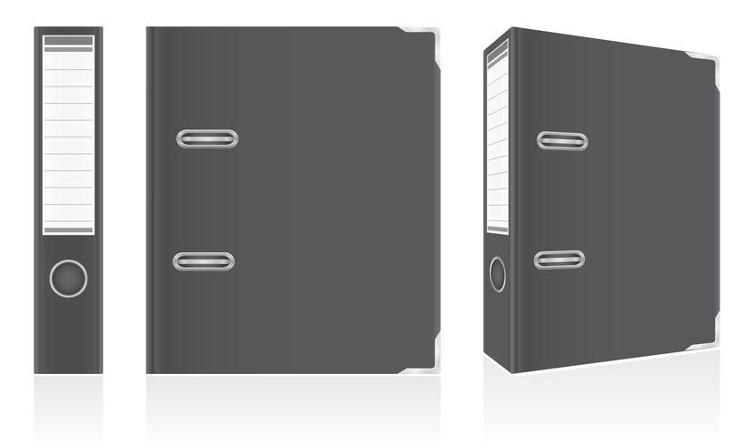 dossier anneaux en métal liant noir pour illustration vectorielle de bureau vecteur