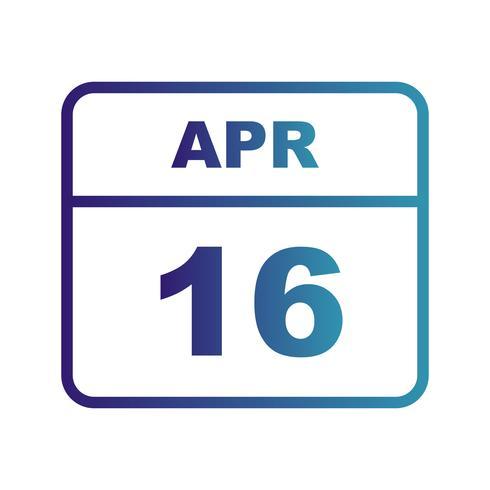 16 avril Calendrier d'une journée vecteur