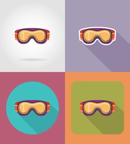 lunettes de ski et de snowboard icônes plats vector illustration