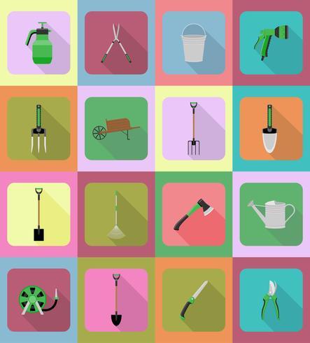 outils de jardinage icônes plats vector illustration