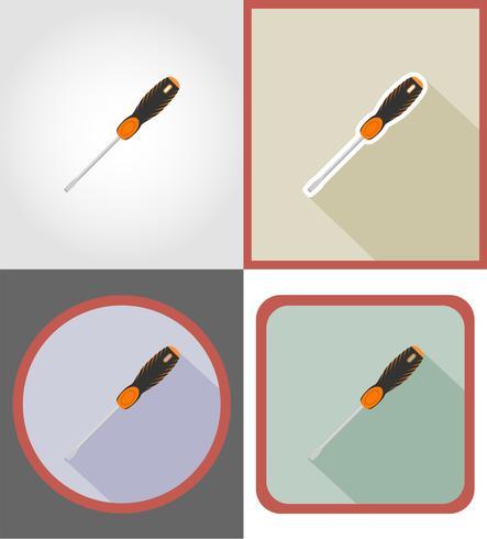 tournevis réparation et outils de construction icônes plats vector illustration