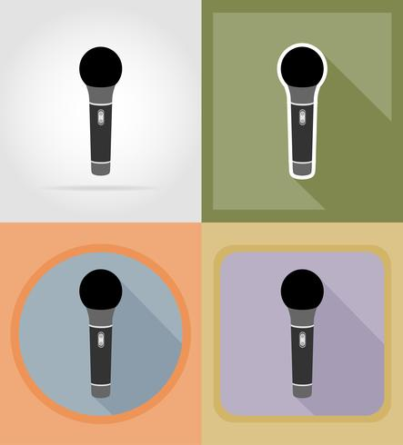 microphones icônes plates vector illustration