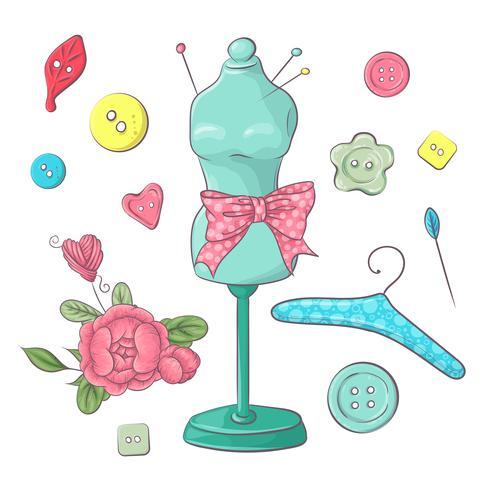 Ensemble d'accessoires de couture de mannequin. Dessin à main levée. Illustration vectorielle vecteur
