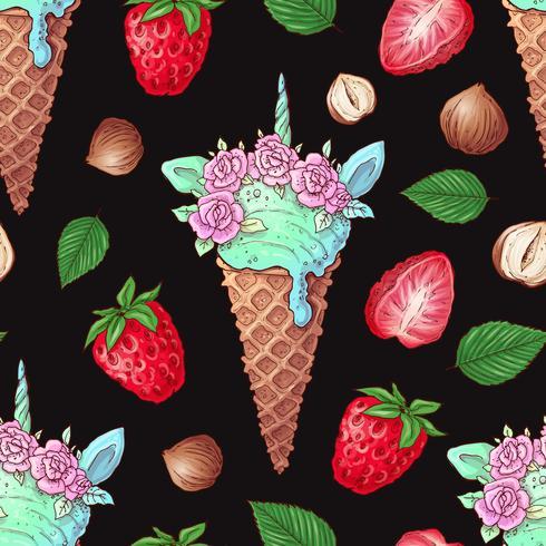 Noix de fraise modèle sans couture de crème glacée. Illustration vectorielle Dessin à main levée vecteur