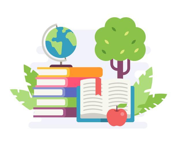 Illustration d'une pile de livres avec une pomme et un mini globe en fond de nature. Illustration de style plat vecteur