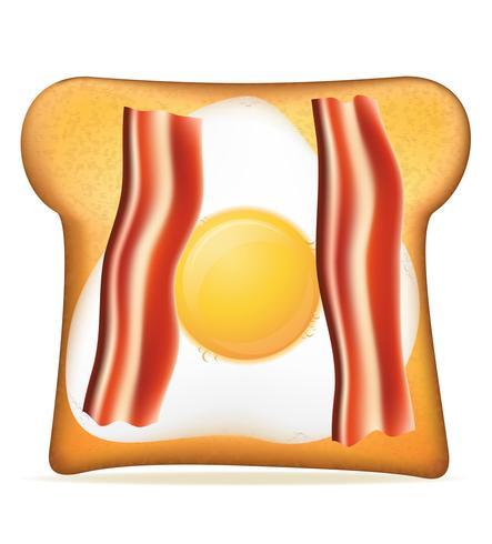 pain grillé avec illustration vectorielle bacon et oeuf vecteur