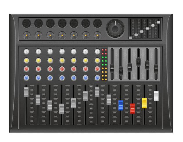 illustration vectorielle de panneau console son mixeur vecteur