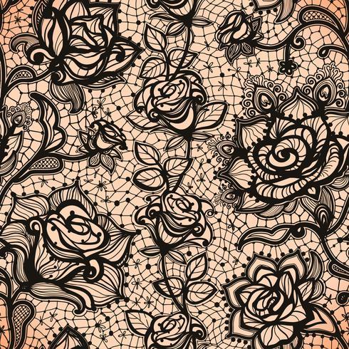 Abstrait point ajouré sans couture avec fleurs et feuilles. vecteur