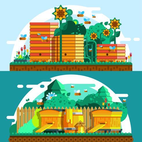 Modèle de bannières horizontales d'apiculture vecteur