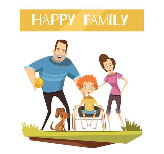 Famille heureuse avec illustration de l'enfant handicapé vecteur