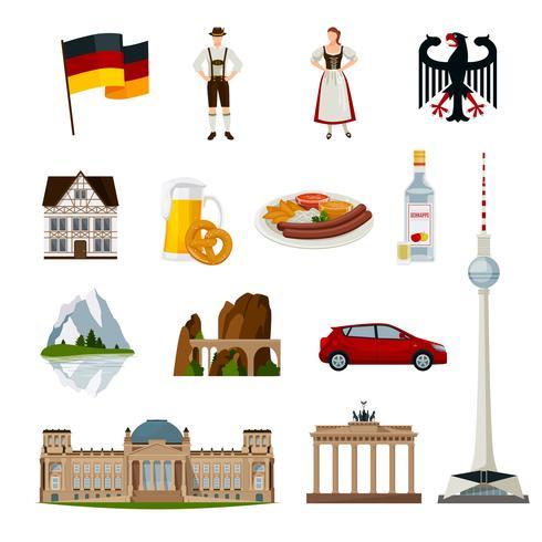 Collection d'icônes plat Allemagne vecteur