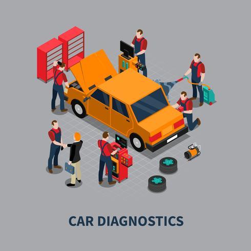 Composition isométrique de centre de diagnostic auto de voiture vecteur