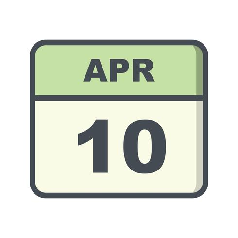 10 avril Date sur un calendrier d'un jour vecteur